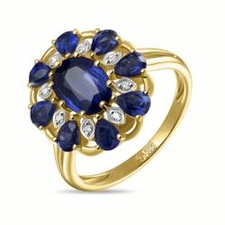 Золотое кольцо Цветок c бриллиантами и кианитами