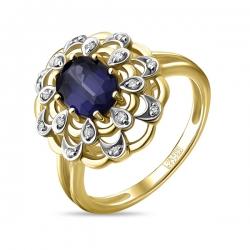 Кольцо из желтого золота c бриллиантами и кианитом