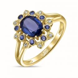 Кольцо Цветок из желтого золота c бриллиантами, кианитом и сапфирами