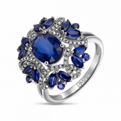 Кольцо Цветок из белого золота c бриллиантами, кианитами и сапфирами