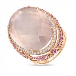 Золотое кольцо c бриллиантами, кварцем и сапфирами Эксклюзив