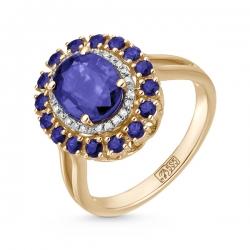 Золотое кольцо c бриллиантами, кианитом и сапфирами