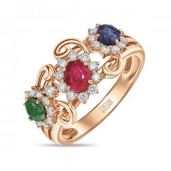 Золотое кольцо c бриллиантами, гранатом, рубином и сапфиром