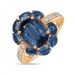 Золотое кольцо c бриллиантами и кианитами
