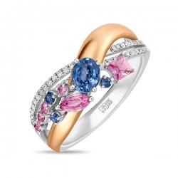 Кольцо из белого золота c бриллиантами и сапфирами