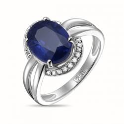 Кольцо из белого золота c бриллиантами и кианитом