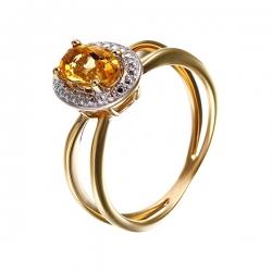 Кольцо из серебра 925 пробы с бриллиантом и цитрином