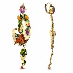 Серьги «Жар-птица» с жемчугом, альмандинами, аметистами, сапфирами и бриллиантами