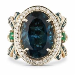 Кольцо с «Лондон» топазом, изумрудами и бриллиантами
