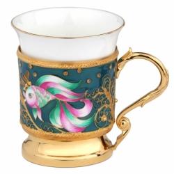 Серебряный подстаканник «Золотая рыбка»