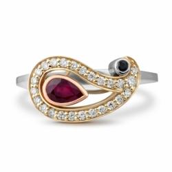 """Кольцо """"Пейсли"""" с рубином, сапфиром и бриллиантами"""