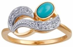 Золотое кольцо с бирюзой и бриллиантами