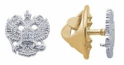 Значок Герб России из белого золота