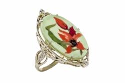 Кольцо с флорентийской мозаикой и бриллиантами