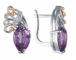 Серьги с аметистами и бриллиантами