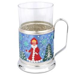 Подстаканник с эмалью «Дед Мороз»