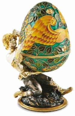 Серебряная шкатулка-яйцо «Жар-птица»