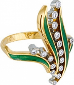 Кольцо «Ландыши» с эмалью и бриллиантами