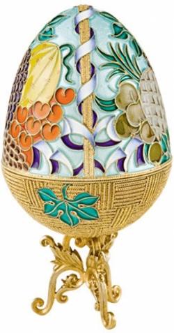 Серебряная шкатулка-яйцо «Фрукты»