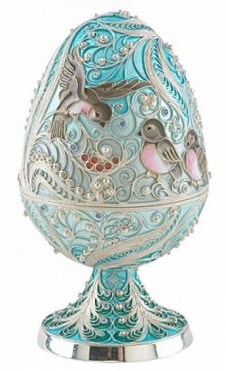 Серебряная шкатулка-яйцо «Снегири»