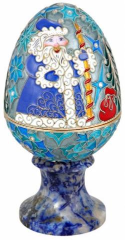 Серебряная шкатулка-яйцо «Дед мороз»