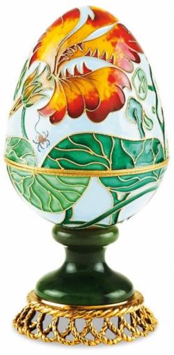 Серебряная шкатулка-яйцо «Настурция»
