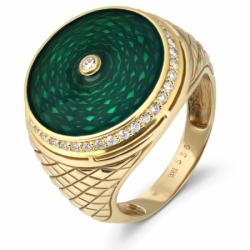 Кольцо с эмалью и бриллиантами