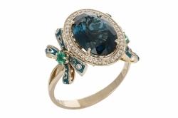 """Кольцо с """"Лондон""""топазом, изумрудами, эмалью и бриллиантами"""
