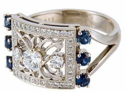 Кольцо «Персона» с сапфирами и бриллиантами