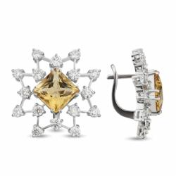 Серьги «Звездный дождь» с цитринами и бриллиантами