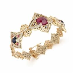 Браслет «Звезда Востока» с сапфиром, рубинами и бриллиантами