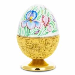 Серебряная шкатулка-яйцо «Цветы в корзине»