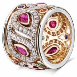 """Кольцо """"Пейсли"""" с рубинами, изумрудами, сапфирами и бриллиантами"""