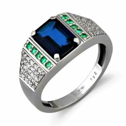 Кольцо с сапфиром, изумрудами и бриллиантами