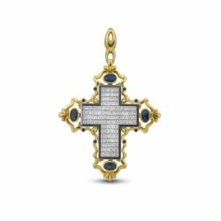 Подвеска-крест с сапфирами и бриллиантами