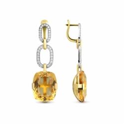 Серьги с цитринами и бриллиантами