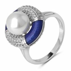 Кольцо с эмалью, жемчугом и бриллиантами