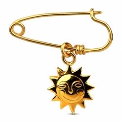 Серебряная булавка Солнце с золочением