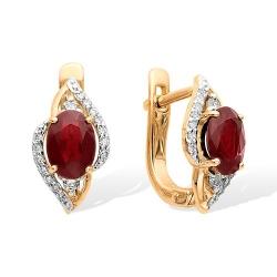 Серьги из красного золота с бриллиантами, рубинами