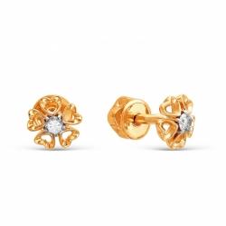 Серьги-пуссеты Цветы из красного золота с бриллиантами