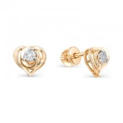 Серьги-пуссеты Сердце из красного золота с бриллиантами
