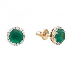 Серьги-пуссеты из красного золота с бриллиантами, зелеными агатами