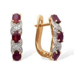 Серьги из красного золота с рубинами, бриллиантами