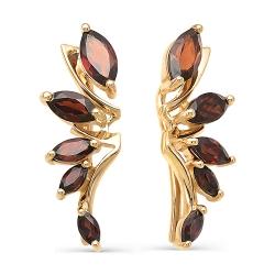 Серьги-зажимы Листья из красного золота с гранатами