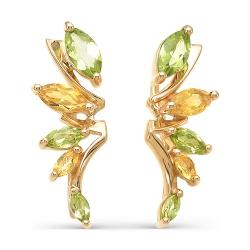 Серьги-зажимы Листья из красного золота с хризолитами, цитринами