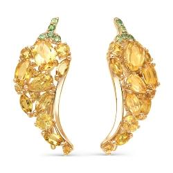 Серьги-зажимы из красного золота с цаворитами, цитринами