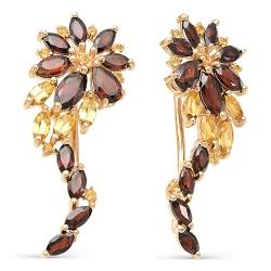Серьги-зажимы Цветы из красного золота с гранатами, цитринами