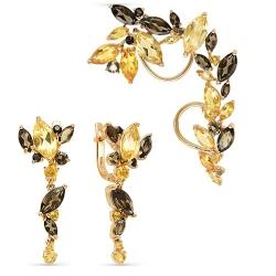 Серьги-каффы из красного золота с раухтопазами, цитринами