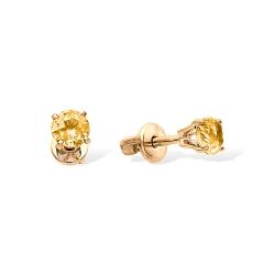 Серьги-пуссеты из красного золота с цитринами