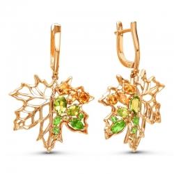 Серьги Листья из красного золота с цветными камнями